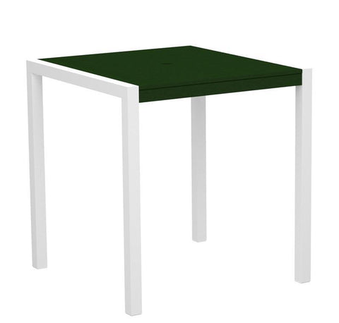 "Polywood 8101-10GR MOD 36"" Counter Table in Gloss White Aluminum Frame / Green - PolyFurnitureStore"