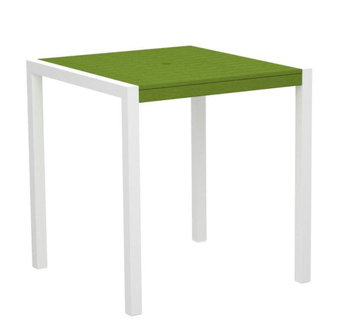 "Polywood 8101-10LI MOD 36"" Counter Table in Gloss White Aluminum Frame / Lime - PolyFurnitureStore"