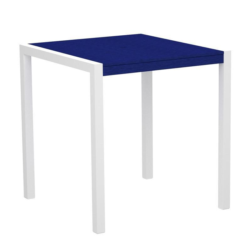 Counter Table Gloss White Aluminum Frame Pacific Blue 16520 Product Photo