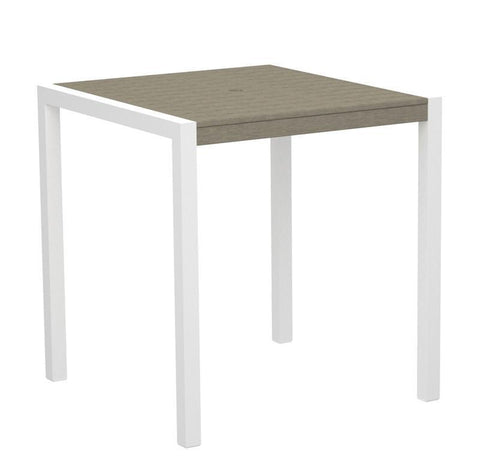 "Polywood 8101-10SA MOD 36"" Counter Table in Gloss White Aluminum Frame / Sand - PolyFurnitureStore"
