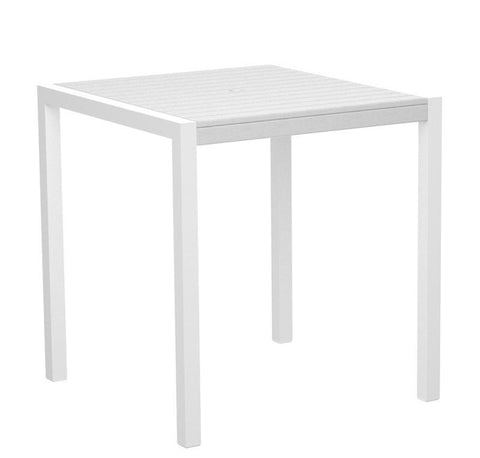 "Polywood 8101-10WH MOD 36"" Counter Table in Gloss White Aluminum Frame / White - PolyFurnitureStore"
