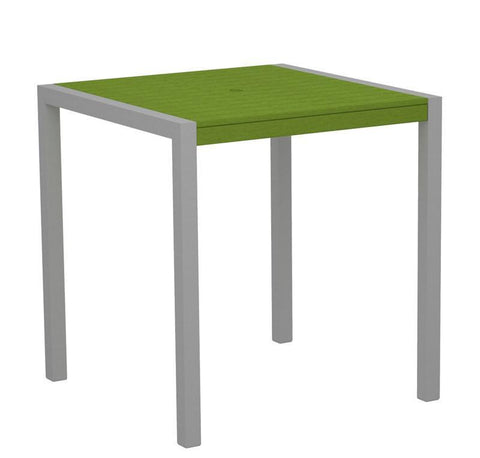 "Polywood 8101-11LI MOD 36"" Counter Table in Textured Silver Aluminum Frame / Lime - PolyFurnitureStore"