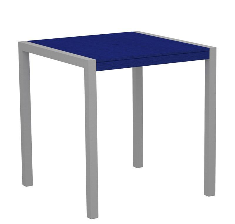 Counter Table Textured Silver Aluminum Frame Pacific Blue 16522 Product Photo