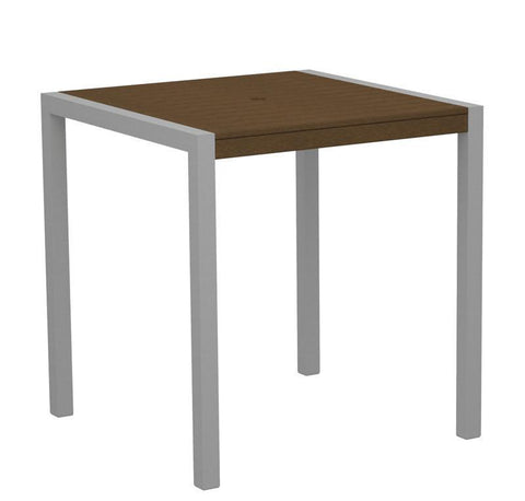 "Polywood 8101-11TE MOD 36"" Counter Table in Textured Silver Aluminum Frame / Teak - PolyFurnitureStore"