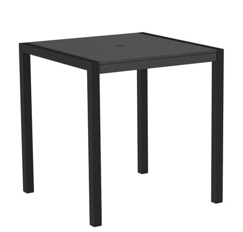 "Polywood 8101-12GY MOD 36"" Counter Table in Textured Black Aluminum Frame / Slate Grey - PolyFurnitureStore"