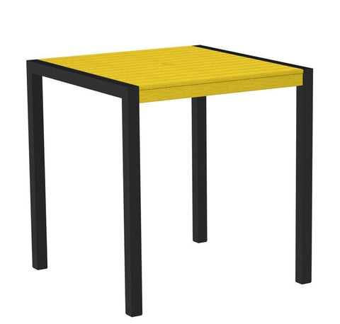 "Polywood 8101-12LE MOD 36"" Counter Table in Textured Black Aluminum Frame / Lemon - PolyFurnitureStore"