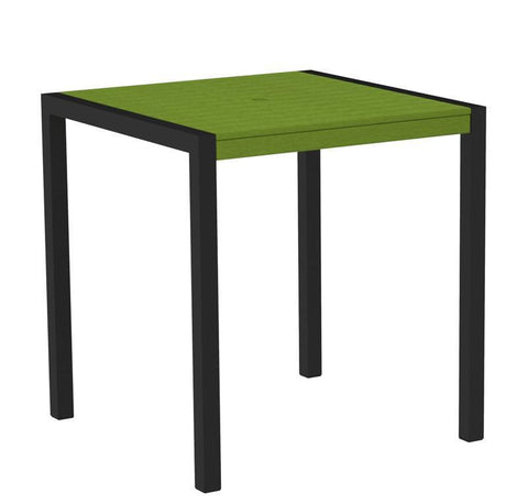 "Polywood 8101-12LI MOD 36"" Counter Table in Textured Black Aluminum Frame / Lime - PolyFurnitureStore"