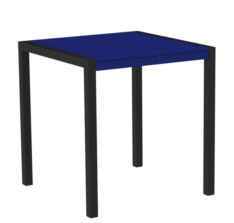 Counter Table Textured Black Aluminum Frame Pacific Blue Mod 2745 Product Photo