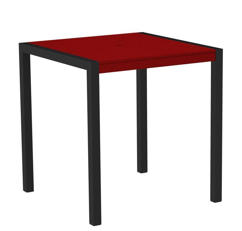 Counter Table Textured Black Aluminum Frame Sunset Red Mod 2749 Product Photo