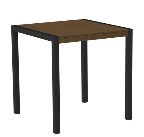 "Polywood 8101-12TE MOD 36"" Counter Table in Textured Black Aluminum Frame / Teak - PolyFurnitureStore"