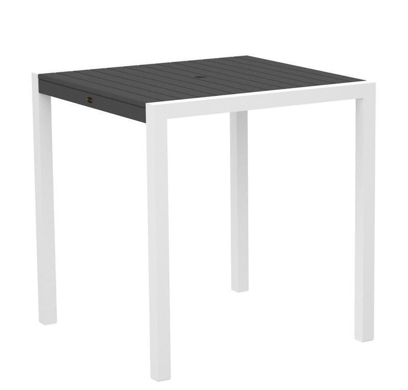 Counter Table Textured White Aluminum Frame Slate Grey Mod 2783 Product Photo