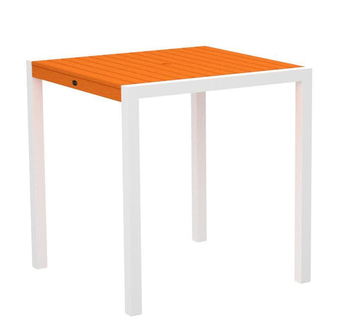 "Polywood 8101-13TA MOD 36"" Counter Table in Textured White Aluminum Frame / Tangerine - PolyFurnitureStore"