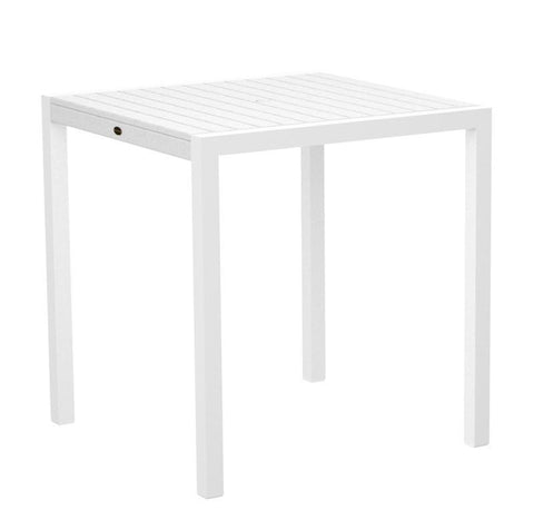 "Polywood 8101-13WH MOD 36"" Counter Table in Textured White Aluminum Frame / White - PolyFurnitureStore"