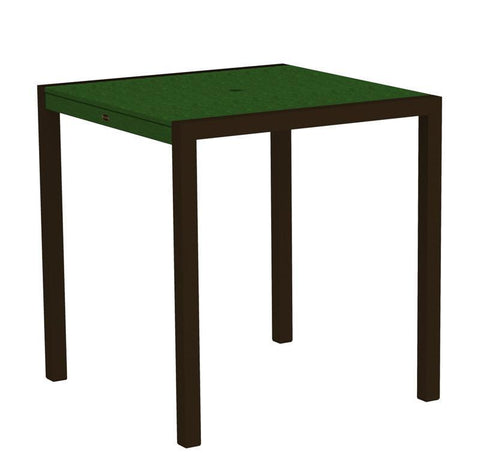 "Polywood 8101-16GR MOD 36"" Counter Table in Textured Bronze Aluminum Frame / Green - PolyFurnitureStore"