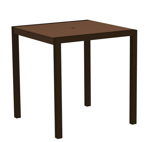 "Polywood 8101-16MA MOD 36"" Counter Table in Textured Bronze Aluminum Frame / Mahogany - PolyFurnitureStore"