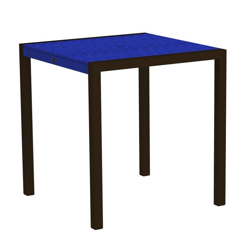 Counter Table Textured Bronze Aluminum Frame Pacific Blue Mod 2225 Product Photo