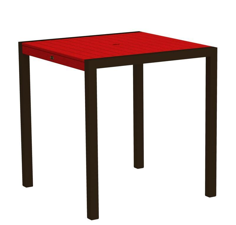 Counter Table Textured Bronze Aluminum Frame Sunset Red Mod 2761 Product Photo