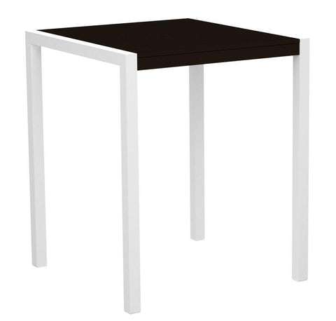"Polywood 8102-10MA MOD 36"" Bar Table in Gloss White Aluminum Frame / Mahogany - PolyFurnitureStore"