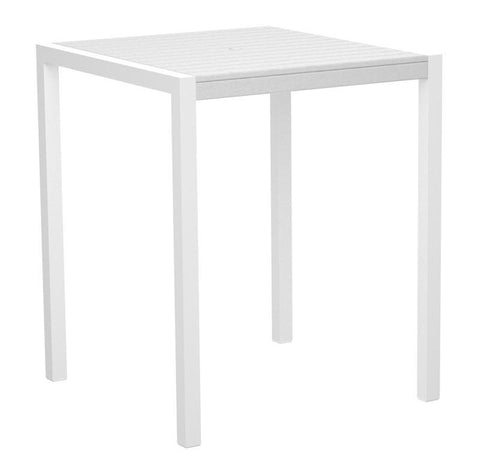 "Polywood 8102-10WH MOD 36"" Bar Table in Gloss White Aluminum Frame / White - PolyFurnitureStore"