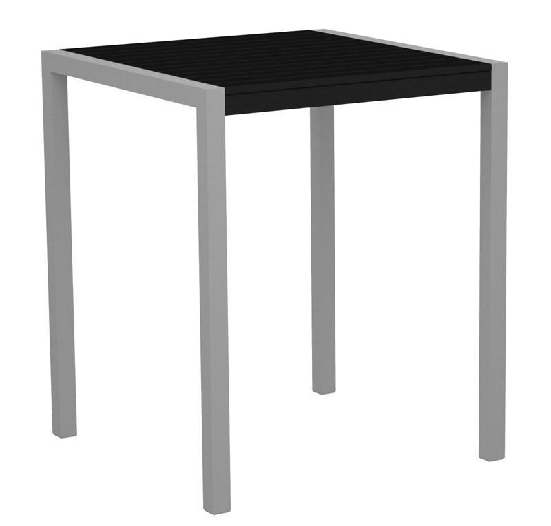 Bar Table Textured Silver Aluminum Frame Black Mod 2525 Product Photo