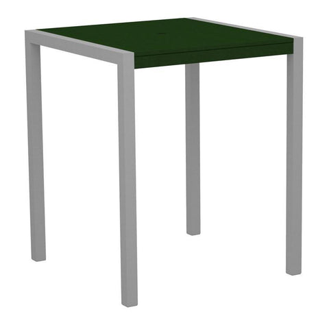 "Polywood 8102-11GR MOD 36"" Bar Table in Textured Silver Aluminum Frame / Green - PolyFurnitureStore"
