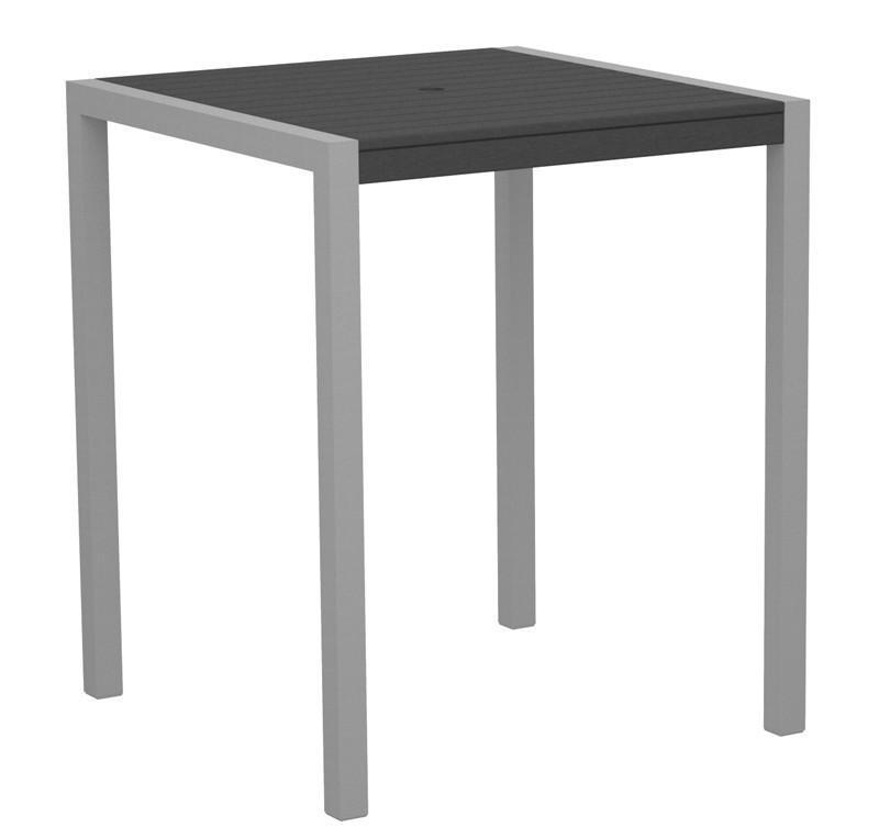 Bar Table Textured Silver Aluminum Frame Slate Grey Mod 2530 Product Photo