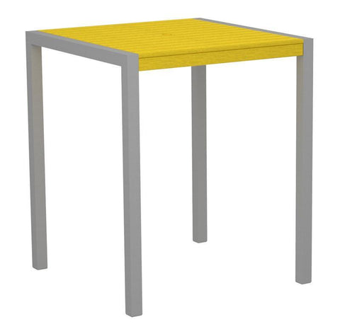 "Polywood 8102-11LE MOD 36"" Bar Table in Textured Silver Aluminum Frame / Lemon - PolyFurnitureStore"