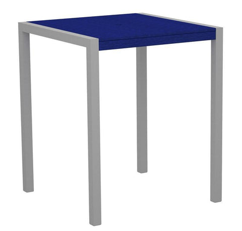 "Polywood 8102-11PB MOD 36"" Bar Table in Textured Silver Aluminum Frame / Pacific Blue - PolyFurnitureStore"