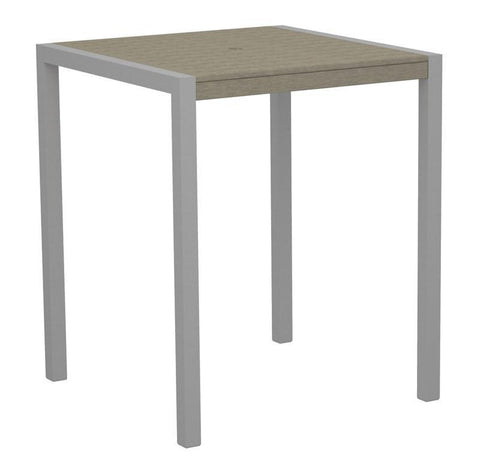 "Polywood 8102-11SA MOD 36"" Bar Table in Textured Silver Aluminum Frame / Sand - PolyFurnitureStore"