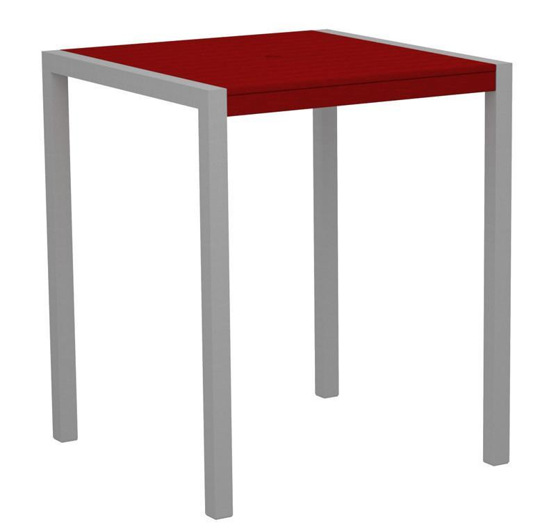 Bar Table Textured Silver Aluminum Frame Sunset Red Mod 2534 Product Photo