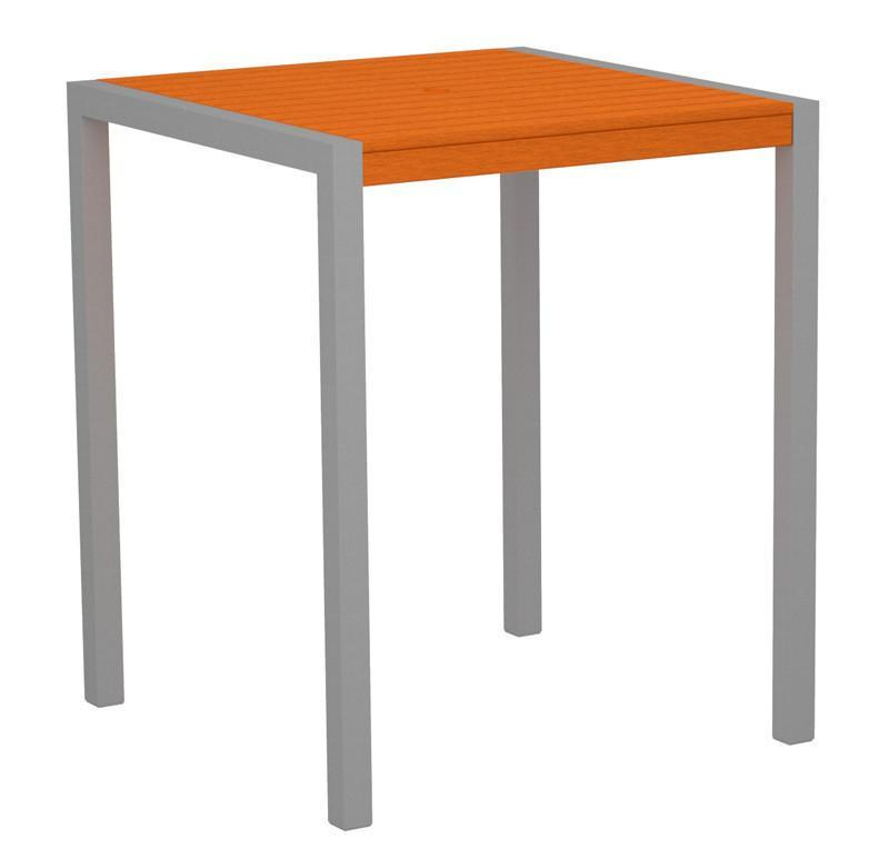 Bar Table Textured Silver Aluminum Frame Tangerine Mod 2534 Product Photo
