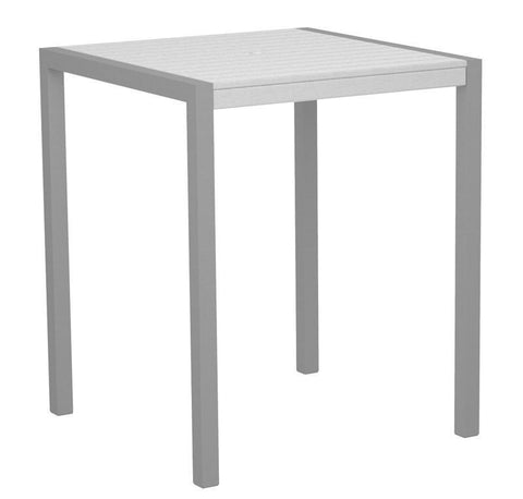 "Polywood 8102-11WH MOD 36"" Bar Table in Textured Silver Aluminum Frame / White - PolyFurnitureStore"