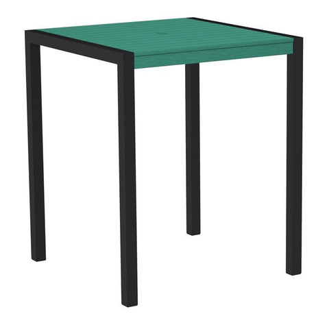 "Polywood 8102-12AR MOD 36"" Bar Table in Textured Black Aluminum Frame / Aruba - PolyFurnitureStore"