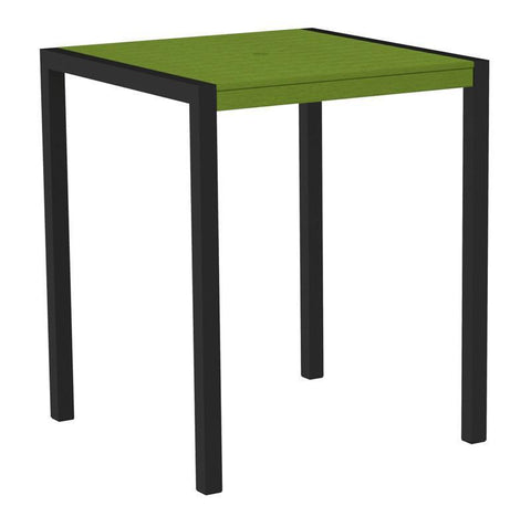 "Polywood 8102-12LI MOD 36"" Bar Table in Textured Black Aluminum Frame / Lime - PolyFurnitureStore"