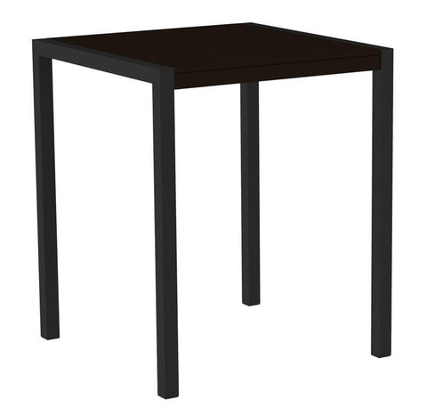 "Polywood 8102-12MA MOD 36"" Bar Table in Textured Black Aluminum Frame / Mahogany - PolyFurnitureStore"
