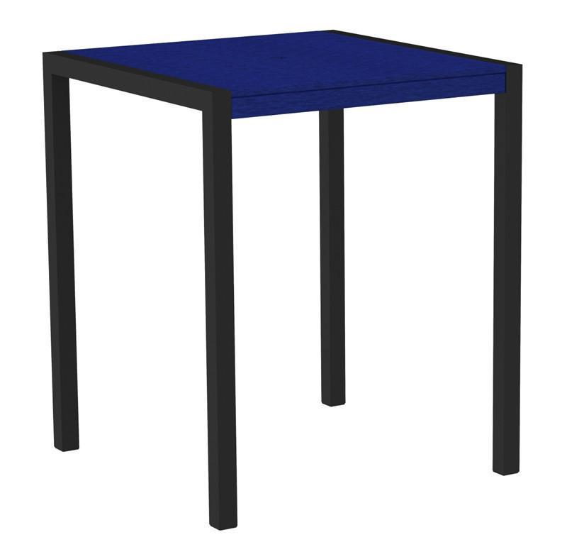 Polywood 8102-12PB MOD 36 Bar Table in Textured Black Aluminum Frame / Pacific Blue