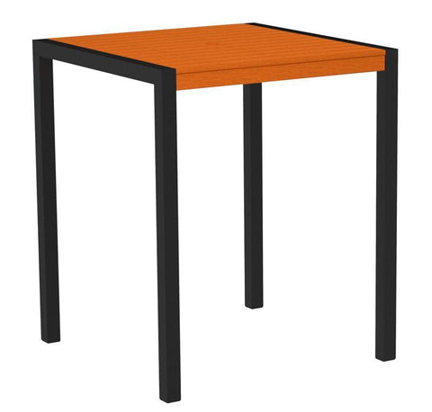 "Polywood 8102-12TA MOD 36"" Bar Table in Textured Black Aluminum Frame / Tangerine - PolyFurnitureStore"