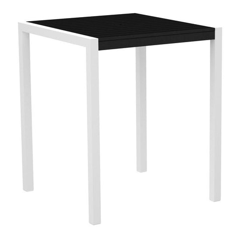 "Polywood 8102-13BL MOD 36"" Bar Table in Textured White Aluminum Frame / Black - PolyFurnitureStore"