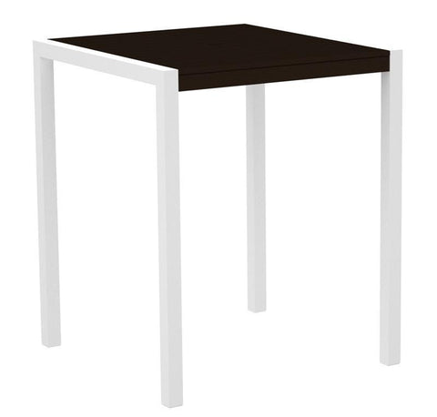 "Polywood 8102-13MA MOD 36"" Bar Table in Textured White Aluminum Frame / Mahogany - PolyFurnitureStore"