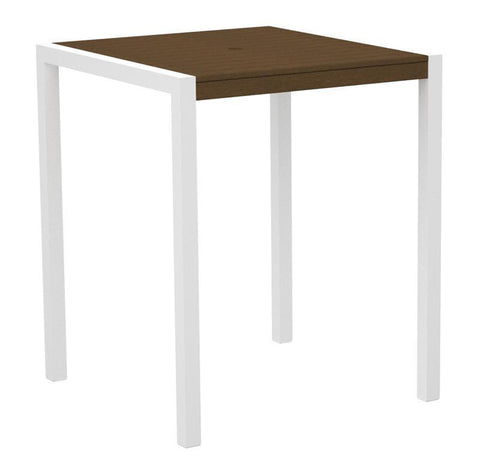 "Polywood 8102-13TE MOD 36"" Bar Table in Textured White Aluminum Frame / Teak - PolyFurnitureStore"