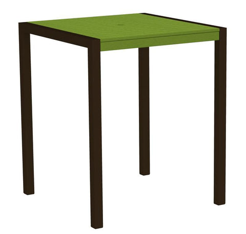 "Polywood 8102-16LI MOD 36"" Bar Table in Textured Bronze Aluminum Frame / Lime - PolyFurnitureStore"