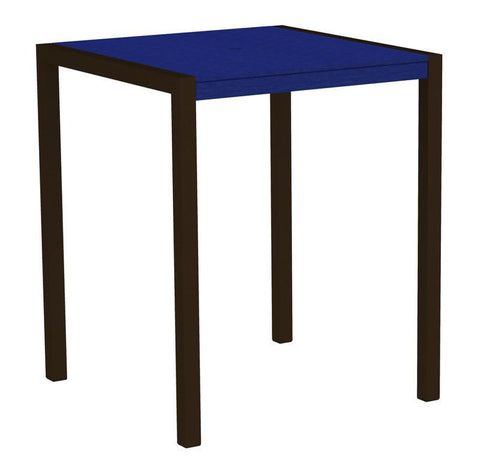 "Polywood 8102-16PB MOD 36"" Bar Table in Textured Bronze Aluminum Frame / Pacific Blue - PolyFurnitureStore"
