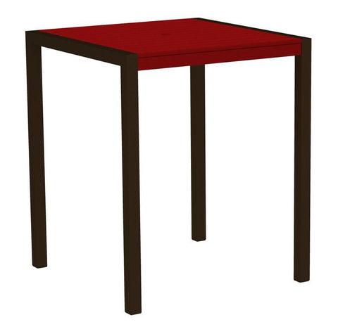 "Polywood 8102-16SR MOD 36"" Bar Table in Textured Bronze Aluminum Frame / Sunset Red - PolyFurnitureStore"