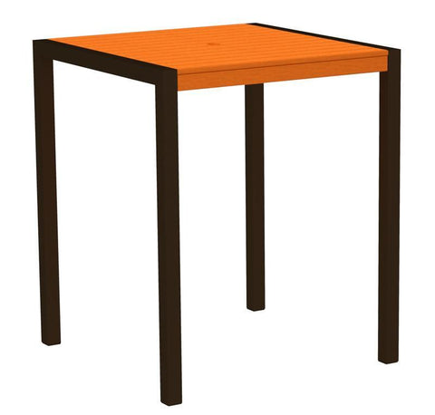 "Polywood 8102-16TA MOD 36"" Bar Table in Textured Bronze Aluminum Frame / Tangerine - PolyFurnitureStore"