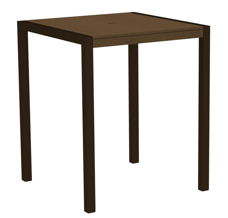 Bar Table Textured Bronze Aluminum Frame Teak Mod 2521 Product Photo
