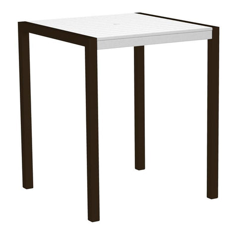 "Polywood 8102-16WH MOD 36"" Bar Table in Textured Bronze Aluminum Frame / White - PolyFurnitureStore"