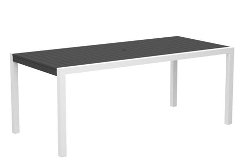 "Polywood 8300-10GY MOD 36"" x 73"" Dining Table in Gloss White Aluminum Frame / Slate Grey - PolyFurnitureStore"