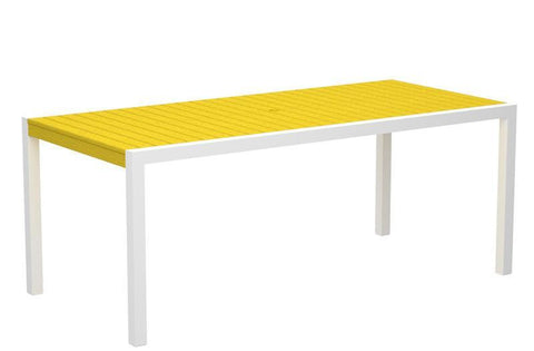 "Polywood 8300-10LE MOD 36"" x 73"" Dining Table in Gloss White Aluminum Frame / Lemon - PolyFurnitureStore"
