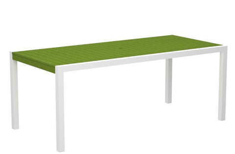 "Polywood 8300-10LI MOD 36"" x 73"" Dining Table in Gloss White Aluminum Frame / Lime - PolyFurnitureStore"