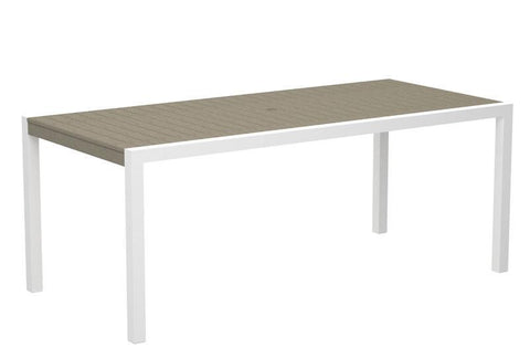 "Polywood 8300-10SA MOD 36"" x 73"" Dining Table in Gloss White Aluminum Frame / Sand - PolyFurnitureStore"